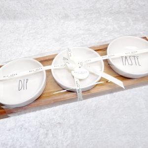 Rae Dunn Serving Dish & Wood Tray Dip Eat Taste